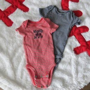 Carter's Blue & Red MVP Preemie Onesies